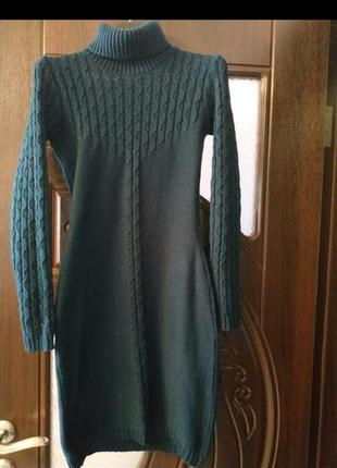 Платье свитер гольф тёплое косы зима осень