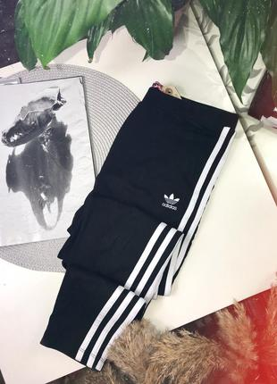 Базовые чёрные лосины с лампасами от adidas