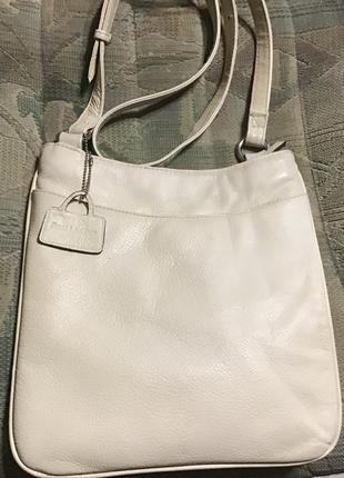 Светлая кожаная сумка планшет 100% натуральная кожа