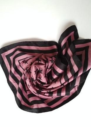 Pieces платок платочек квадратный в полоску розовый черный шарф косынка со звёздочками