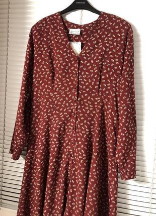 Шикарное длинное винтаж винтажное платье-халат на пуговицах rebecca sheldon марсала принт