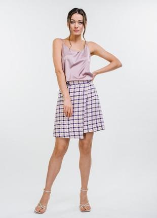 Твидовая юбка на запах принт пье-де-пуль