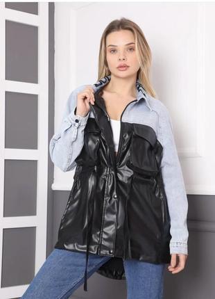Джинсова куртка кардиган шкіряна вітровка