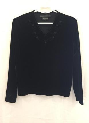 Бархатная блуза с вышивкой laura ashley