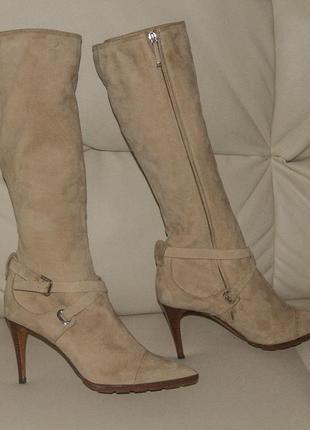 Шикарные замшевые сапоги до колена ralph lauren сollection