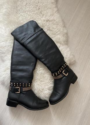 Сапоги ботфорты кожаные на цигейке чёрные