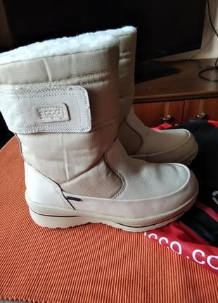 Сапоги женские зимние кожаные ecco gore-tex 40 р-р(25,5см)