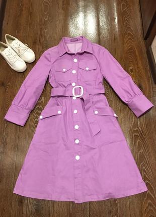 Лавандовое натуральное платье рубашка длина миди с поясом и пуговицами uamazing