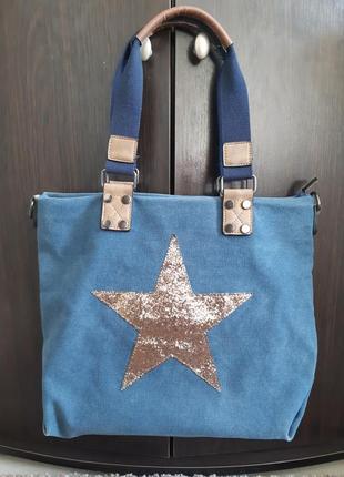 Сумка голубая блестящая звезда под джинс очень плотный жесткий хлопок