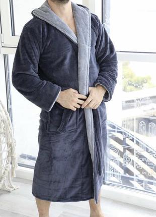 Теплый мужской махровый халат3 фото