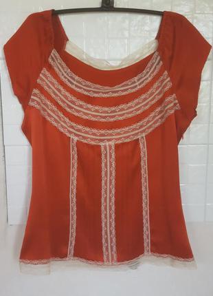 Шовкова блузочка з кружевними вставками