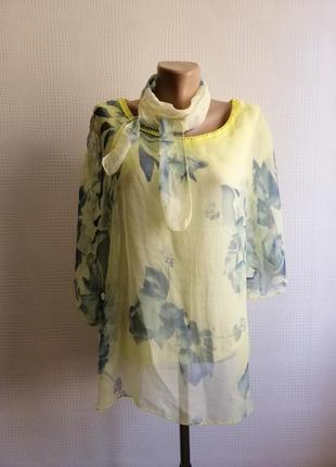 Шелковая, итальянская блуза,оверсайз, натуральный шёлк, размер s,m,l