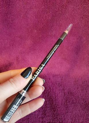Parisa черный карандаш для век и бровей с щеткой щеточкой для макияжа глаз