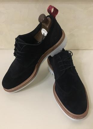 Брендовые замшевые кожаные оксфорды ботинки бренд  hugo boss унисекс
