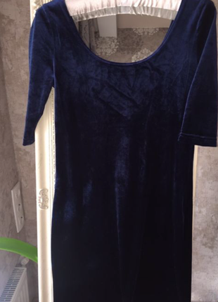 Бархатное темно-синее платье