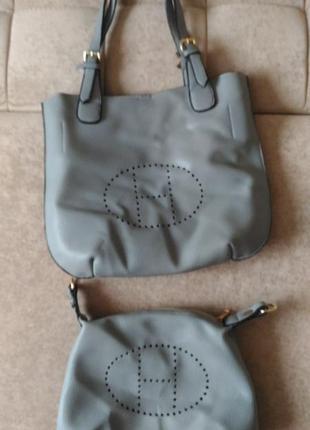 Натуральная кожаная сумка hermes 2 в 1 серого цвета оригинал франция