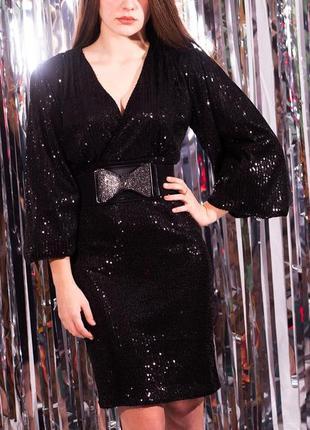 Платье паэтками . чёрное