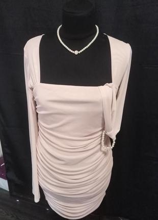 Boohoo/ облегающее платье миди цвет - нюдовый размер 12.