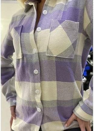 Рубашка в клетку тёплая 42р. шерсть