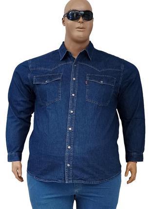 Джинсовая мужская рубашка большого размера с длинными рукавами