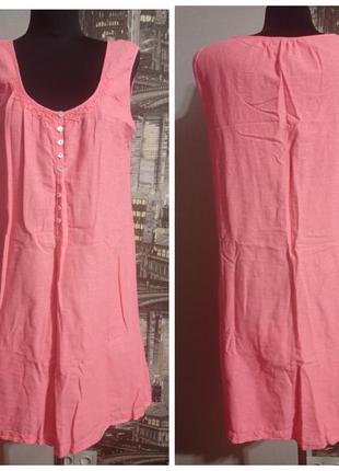 Платье летнее, пляжное, розовое, хлопок, размер хл