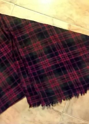Шерстяной утеплённый зимний шарф в клетку