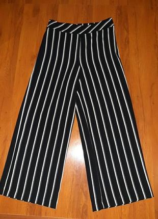 Палаццо брюки черно-белые в полоску