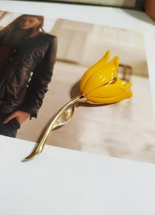 Тренд 2021 брошь тюльпан желтый цветок брошка под ретро винтаж