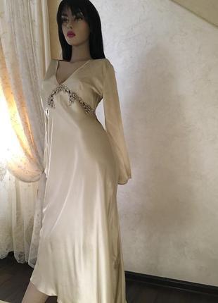 Шелковое платье шелковый пеньюар calida шелковвая ночная рубашка бренд calida кружево шелк
