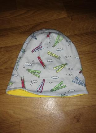 Двусторонняя шапка на мальчика девочку двуслойная котон