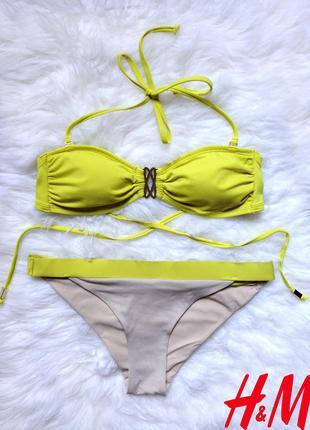 Яркий купальник бандо с украшением от бренда h&m размер s