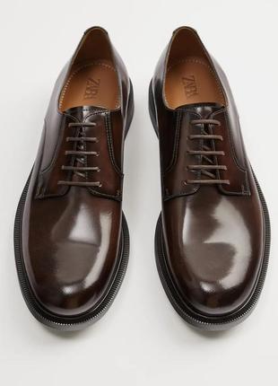 Кожаные туфли-блюхеры zara, размер 43