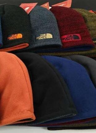 Двусторонние зимние  теплые шапки the north face оригинал