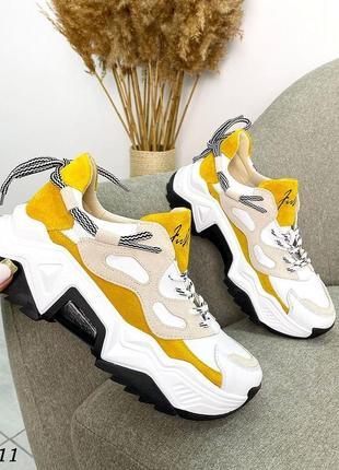 Кроссовки, натуральная кожа/замша, белые с желтым