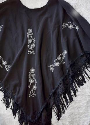 Накидка разлетайка пончо бахрама черные рюши шифон