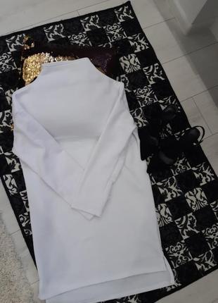 Оверсайз трикотажное платье туника мини белое на флисе платье-худи5 фото