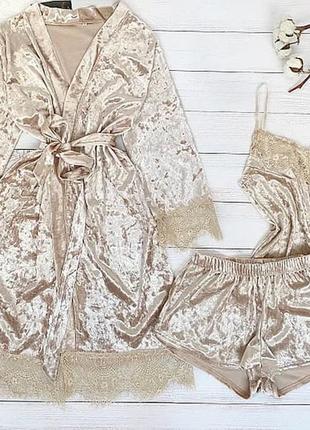 Велюровая пижама комплект халат набор піжама велюрова