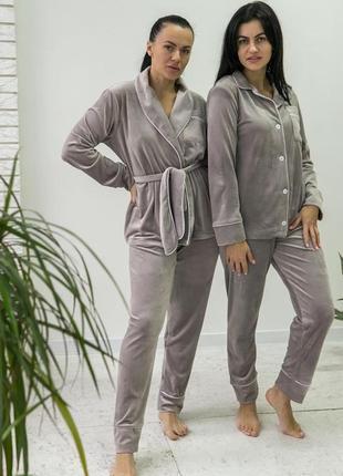 Плюшевая пижама  велюровый костюм  серый піжама сірий