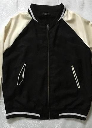 Атласный бомбер куртка ветровка черно белая кофта с замком