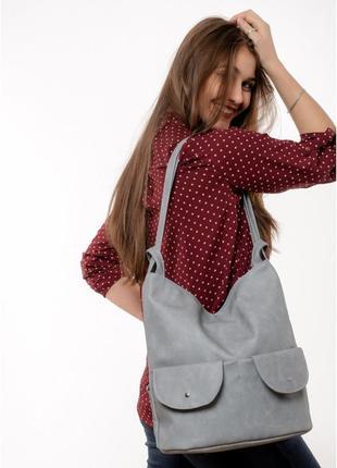 Жіночий рюкзак sambag asti xkh світло-сірий нубук, 20551060