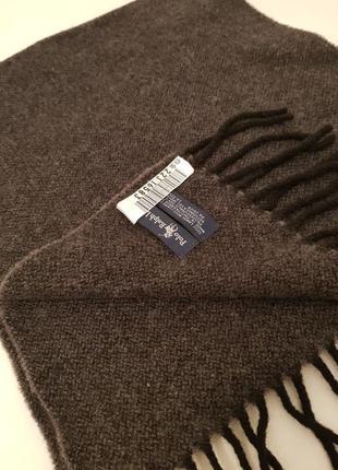 Люксовый статусный шарф polo ralph lauren шерсть породистый серый цвет