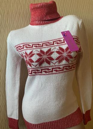 Новый зимний теплый свитер под горло снежинки турция размер s турция
