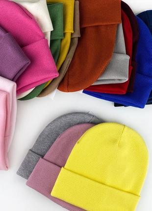🔥топ💣 стильная базовая шапка в рубчик 😍 шикарное качество 😱💣