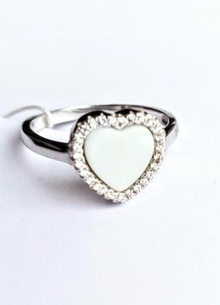 Кольцо сердце керамика 18.0