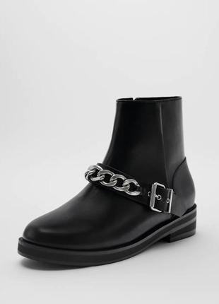 Ботинки с серебряной цепью. zara р.38, 36.