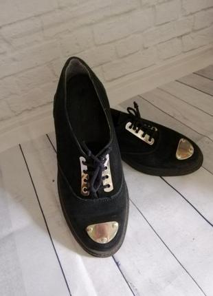 Туфли лоферы броги оксворды натуральный замш и кожа