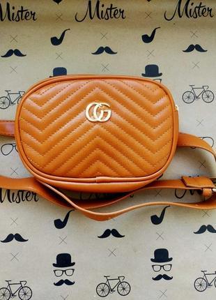 Женская поясная сумка бананка коричневая