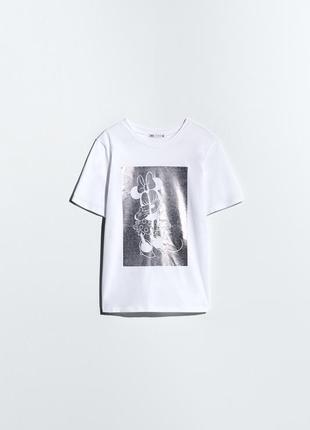 Белая футболка с принтом дисней микки маус zara оригинал футболочка топ зара
