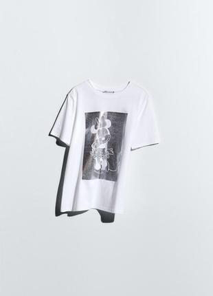 Белая футболка с принтом дисней микки маус zara оригинал футболочка топ зара2 фото