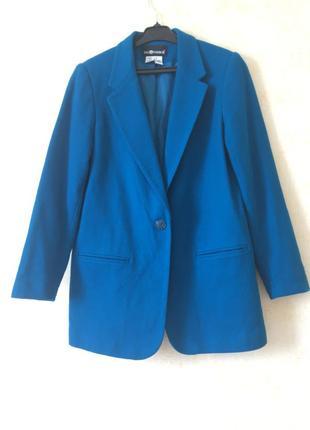 Стильный шерстяной удлиненный пиджак ровного кроя шерсть 100%